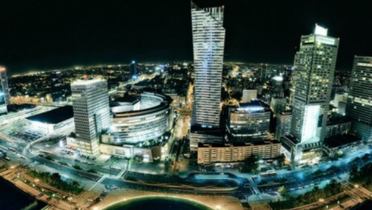 A panorama of modern Warsaw, Poland