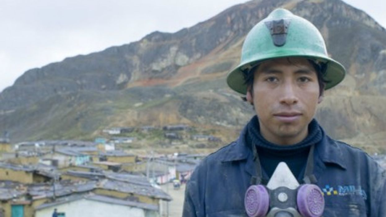 A Peruvian miner at the Toromocho Project, run by Chinese owners.