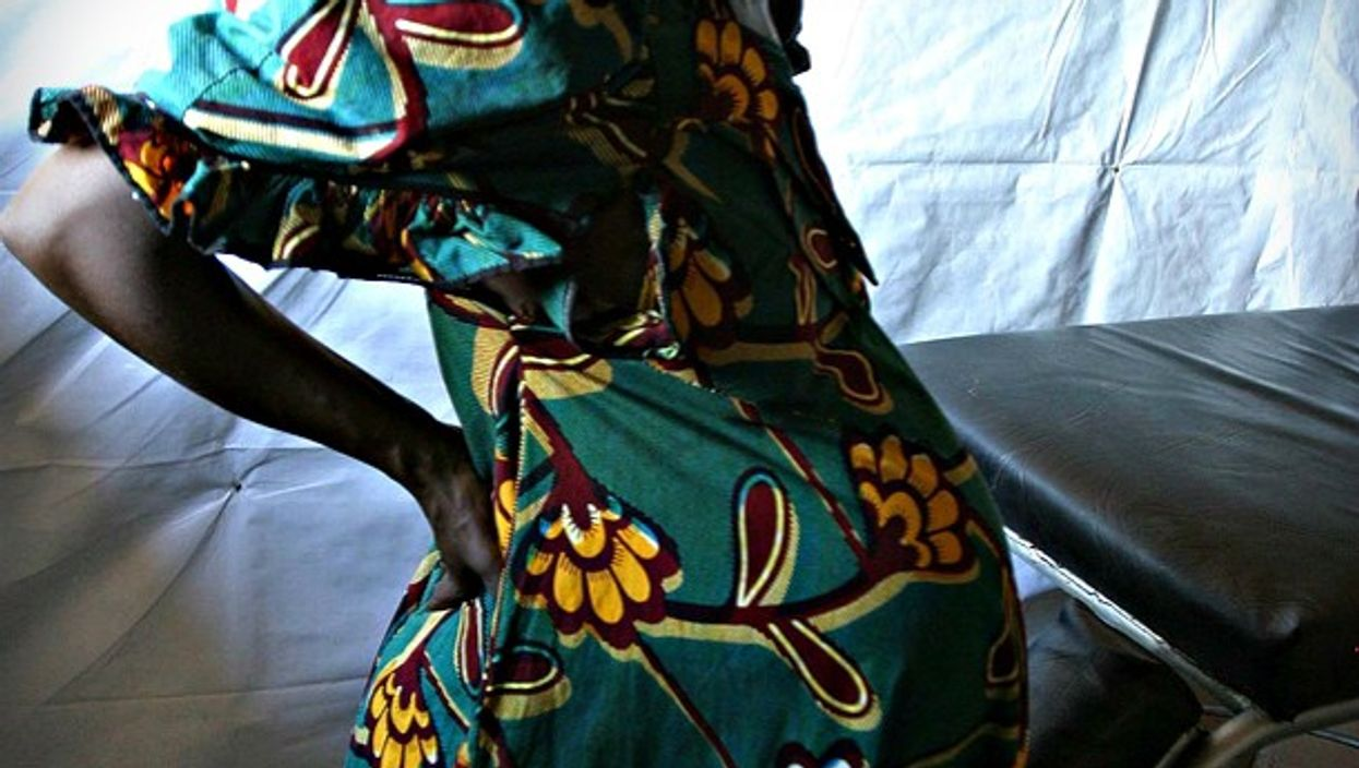 A pregnant woman at a UNICEF camp