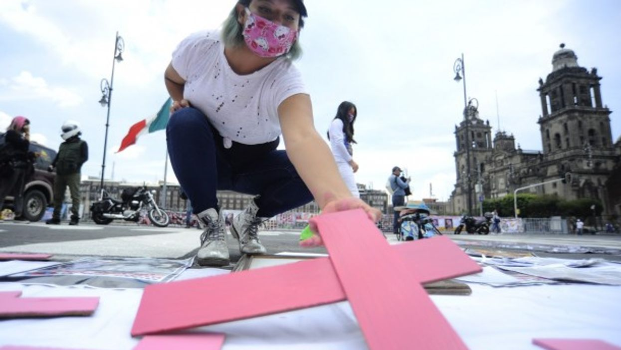 A protest advocating for victims of femicide in Mexico City