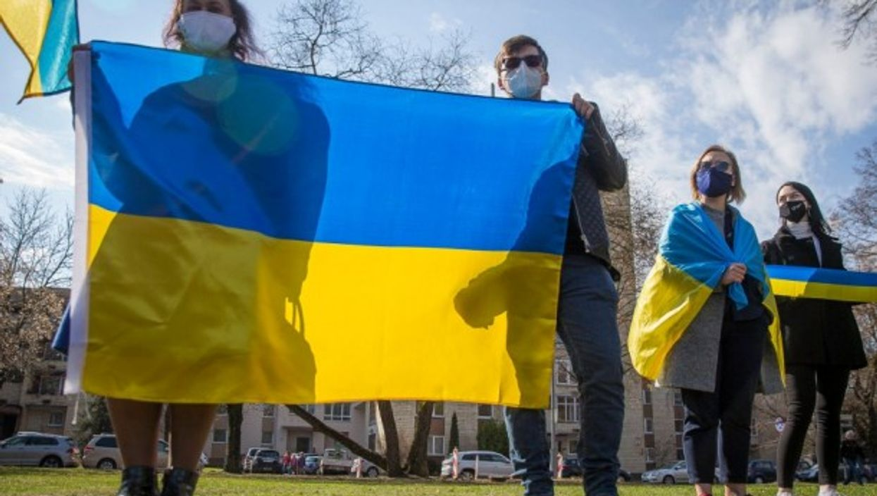 A protest against Russian aggression in Ukraine in front of Russian embassy in Vilnius, Lithuania
