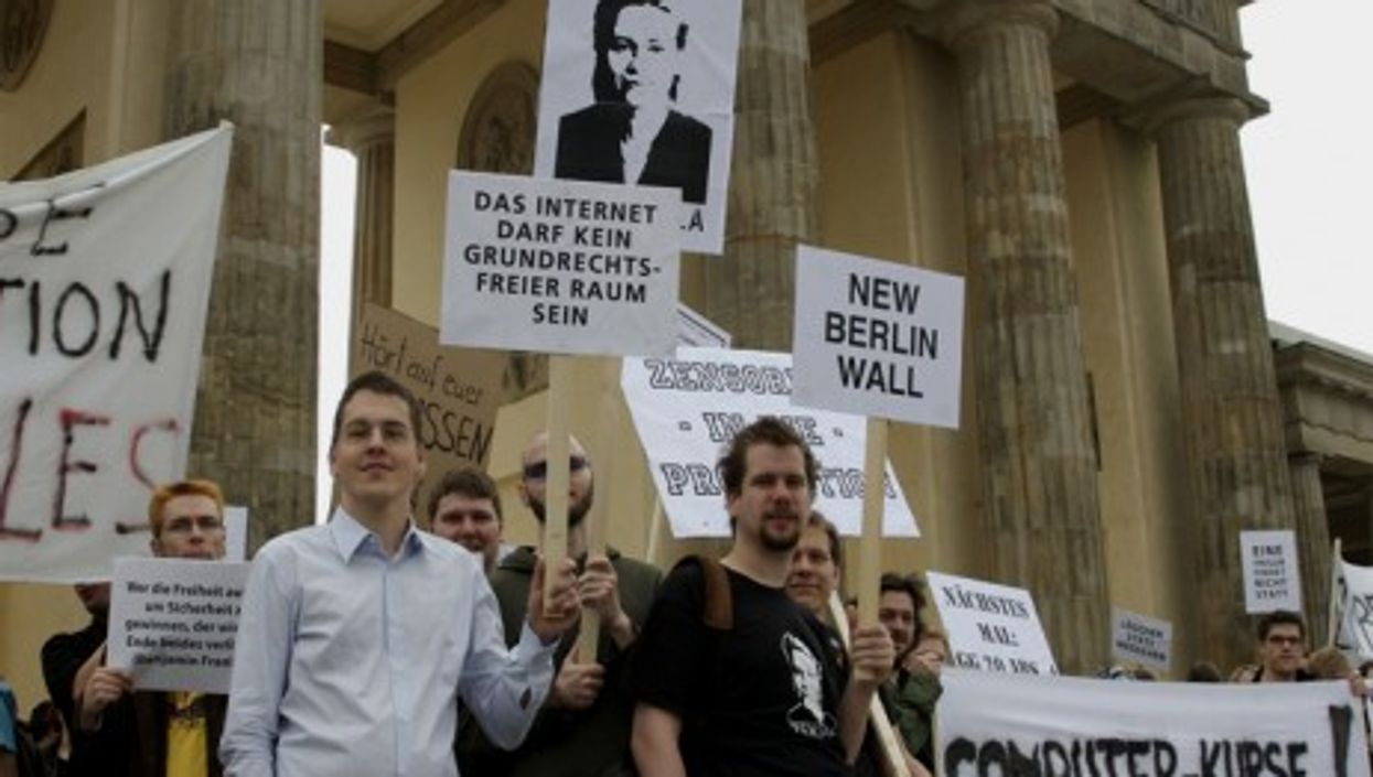 A protest in Berlin against attempts to install a censorship infrastructure in Germany (Franz Patzig)