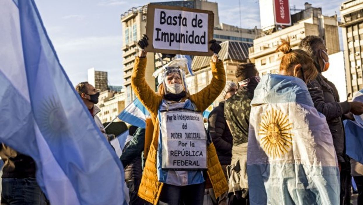 A protest in Buenos Aires on the day of Argentine independence