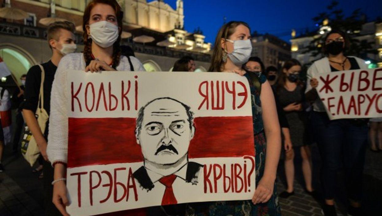 A protest in Krakow against Belarusian President Alexandre Lukashenko