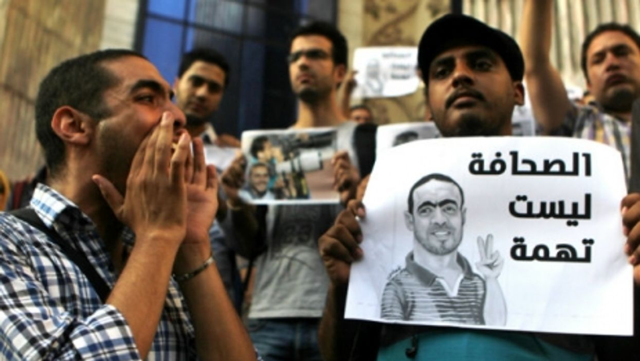 A protest last month in support of Egyptian photojournalist Ahmed Ramadan, who was arrested on charges of belonging to the Muslim Brotherhood