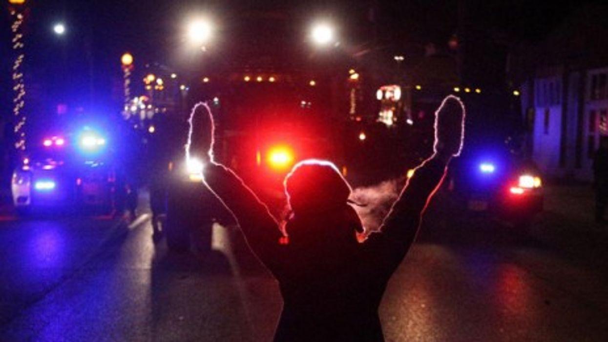 A protester in Ferguson