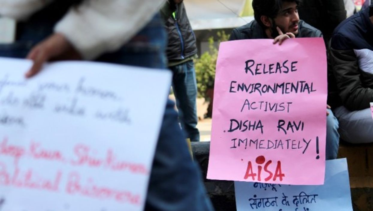 A rally in support of Disha Ravi in New Delhi