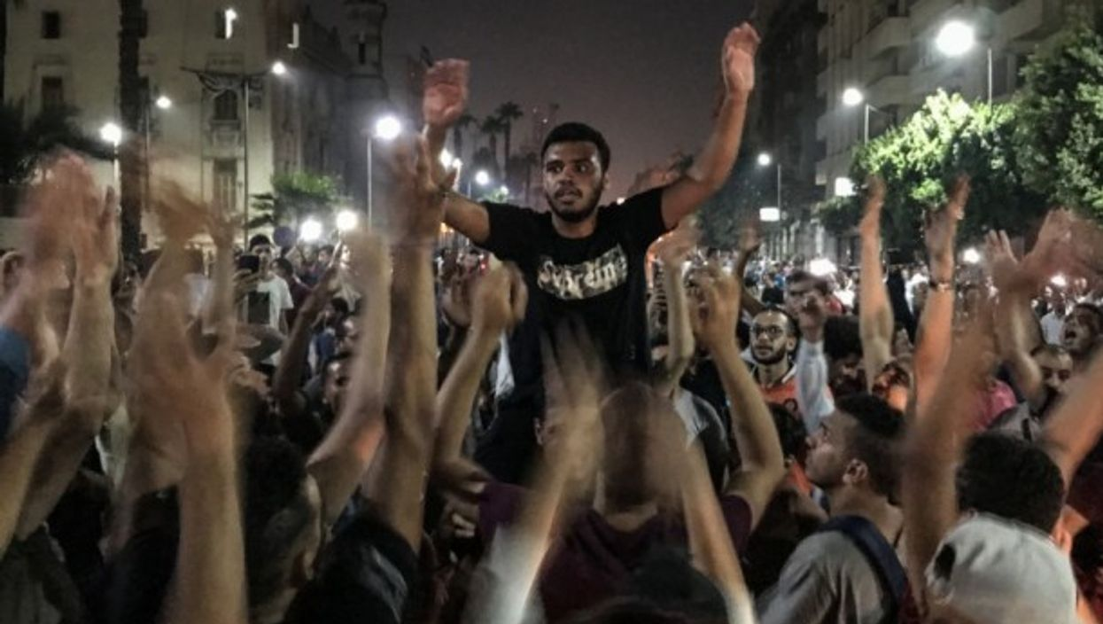 A rare anti-government protest in Downtown Cairo, Sep. 2019