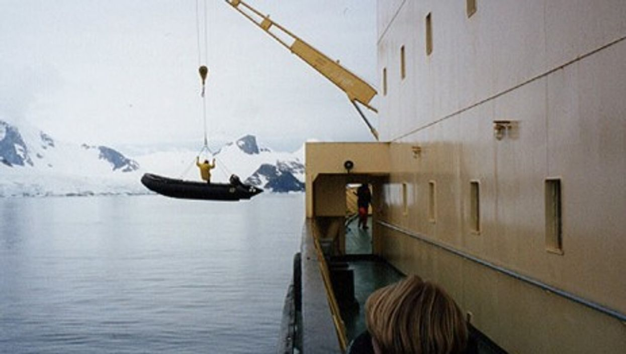 A Russian icebreaker ship in the Antarctic