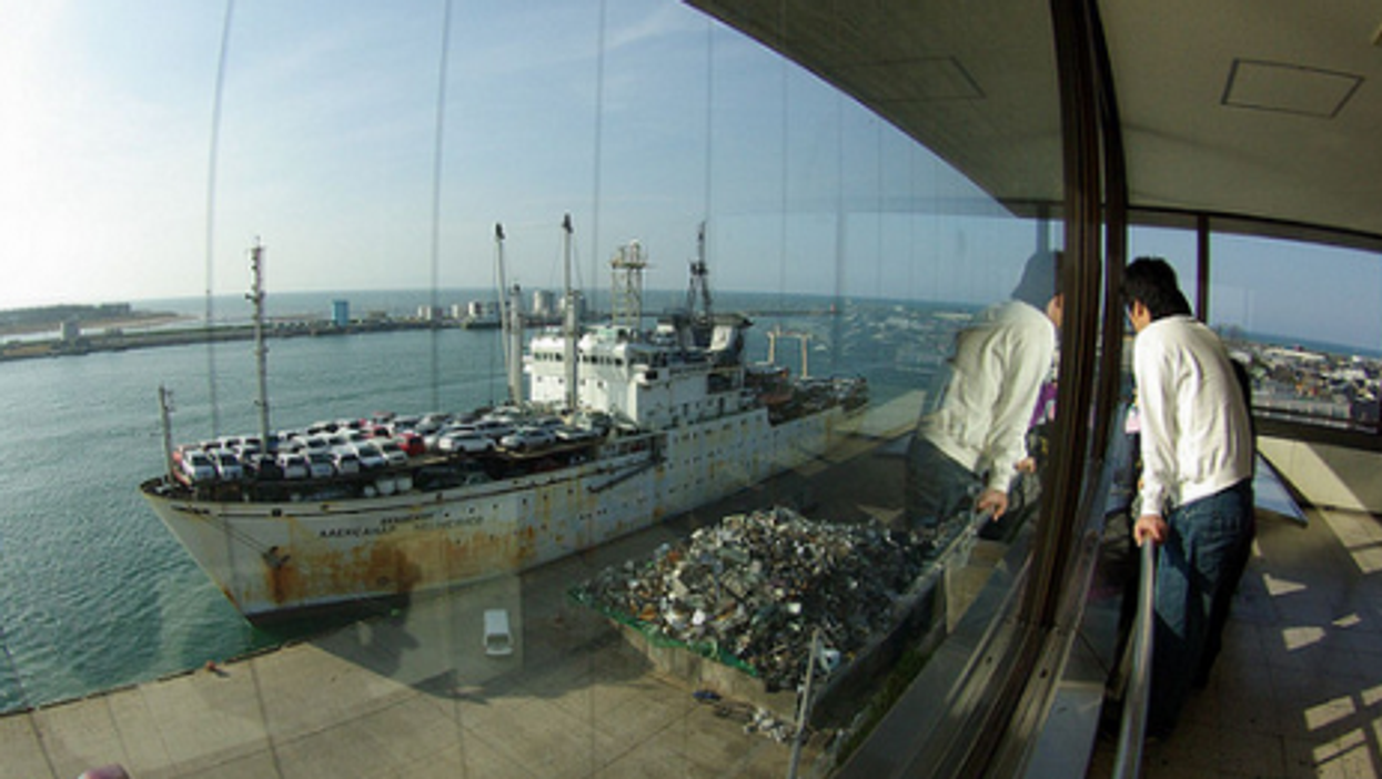 A Russian ship carrying used cars docks in Japan