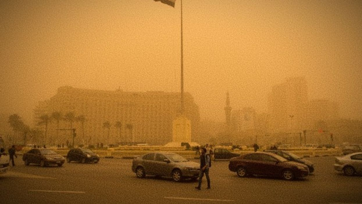 A sandstorm in Tahrir Square last year.
