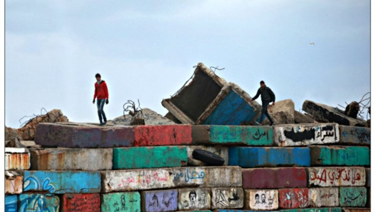 A seawall in Gaza City on a cloudy day last month