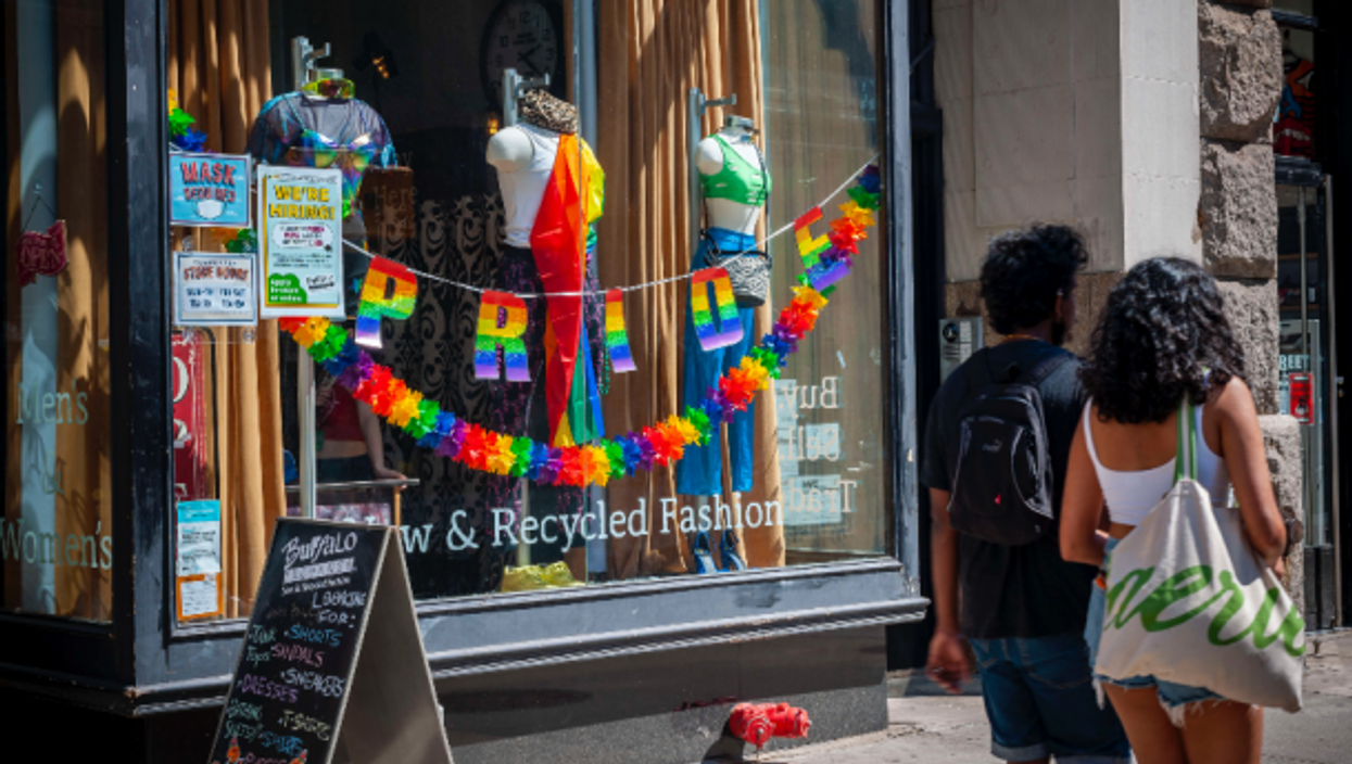 A second-hand store in New York is decorated for Gay Pride 2021