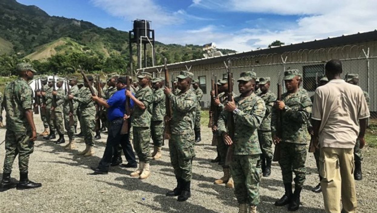 A select group ofrecruits preparing for a parade in Cap-Haïtien