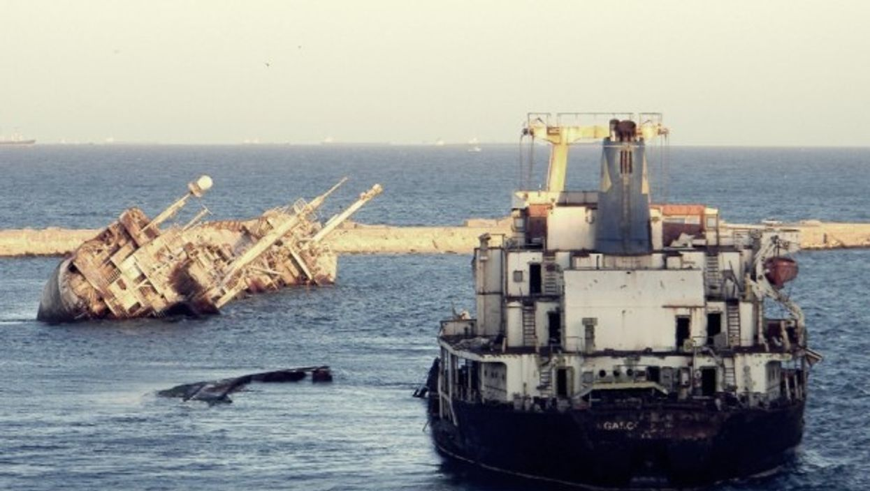 A shipwreck in the port of Alexandria