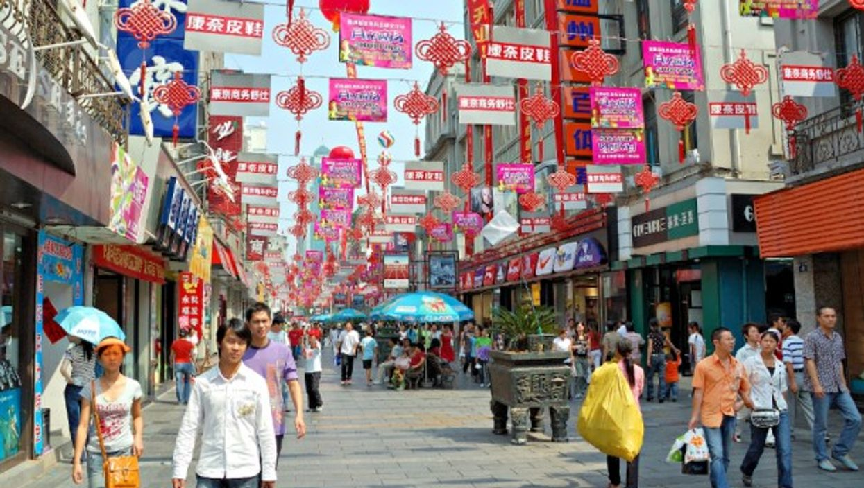 A shopping street in Wenzhou, China
