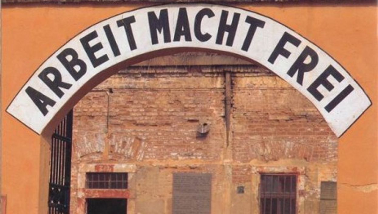 A sign at the Terezin fortress reading