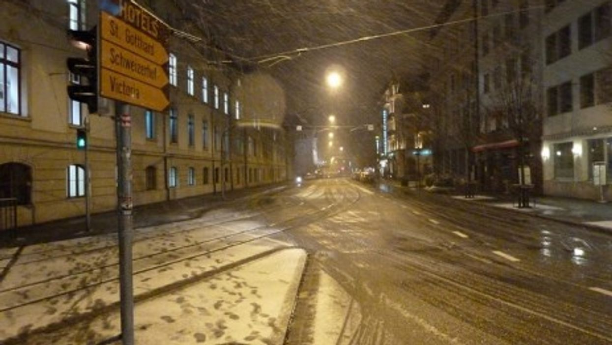 A snow storm in Basel, Switzerland (pppspics)