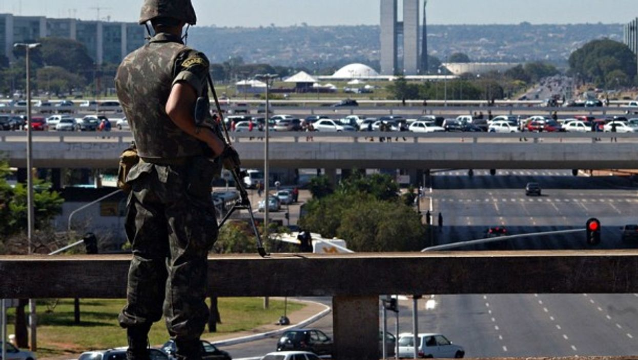 A soldier in charge of security for the UNASUR in Brasilia