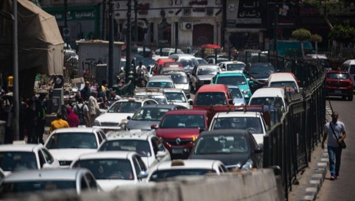 A traffic jam along al-Azhar street in Cairo.