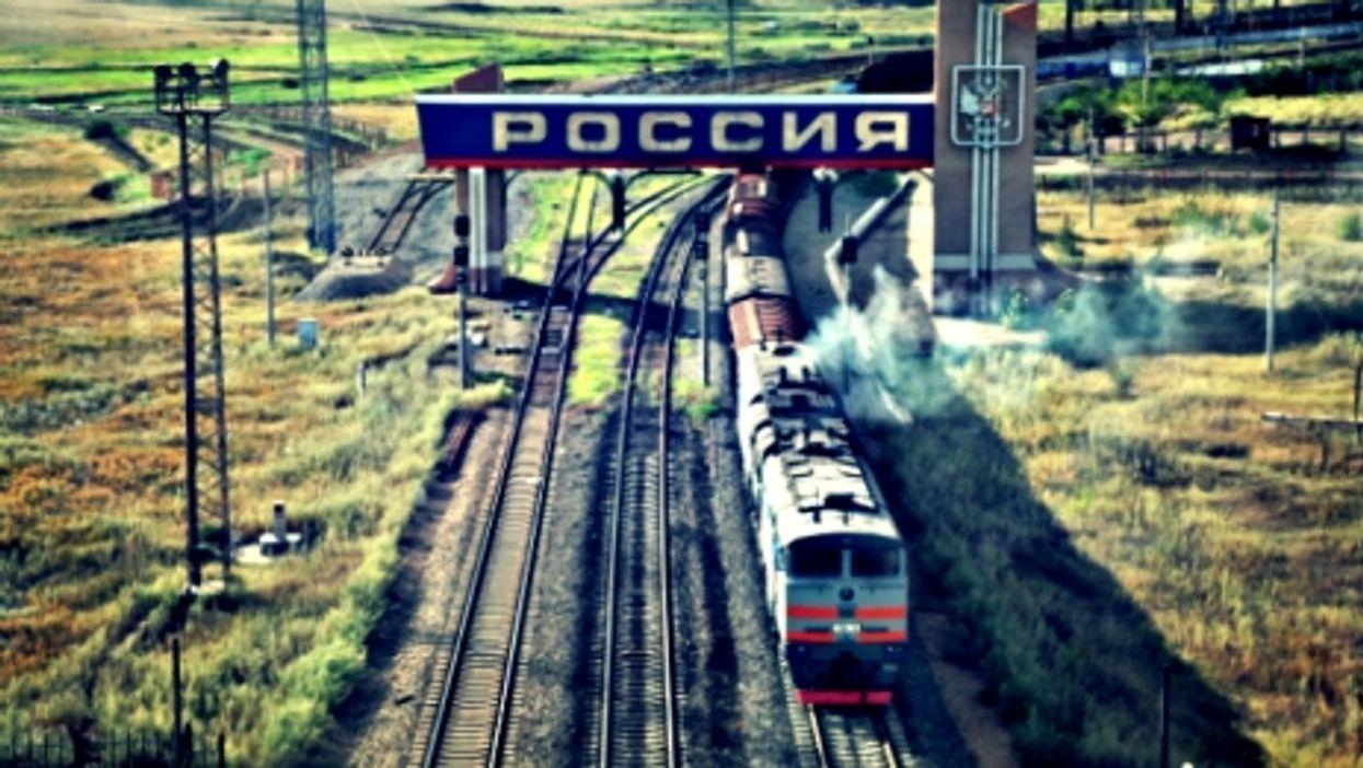 A train on the Trans-Siberian Railway