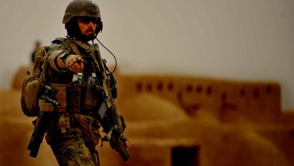A U.S. Marine at Ranje Bala village, Farah Province