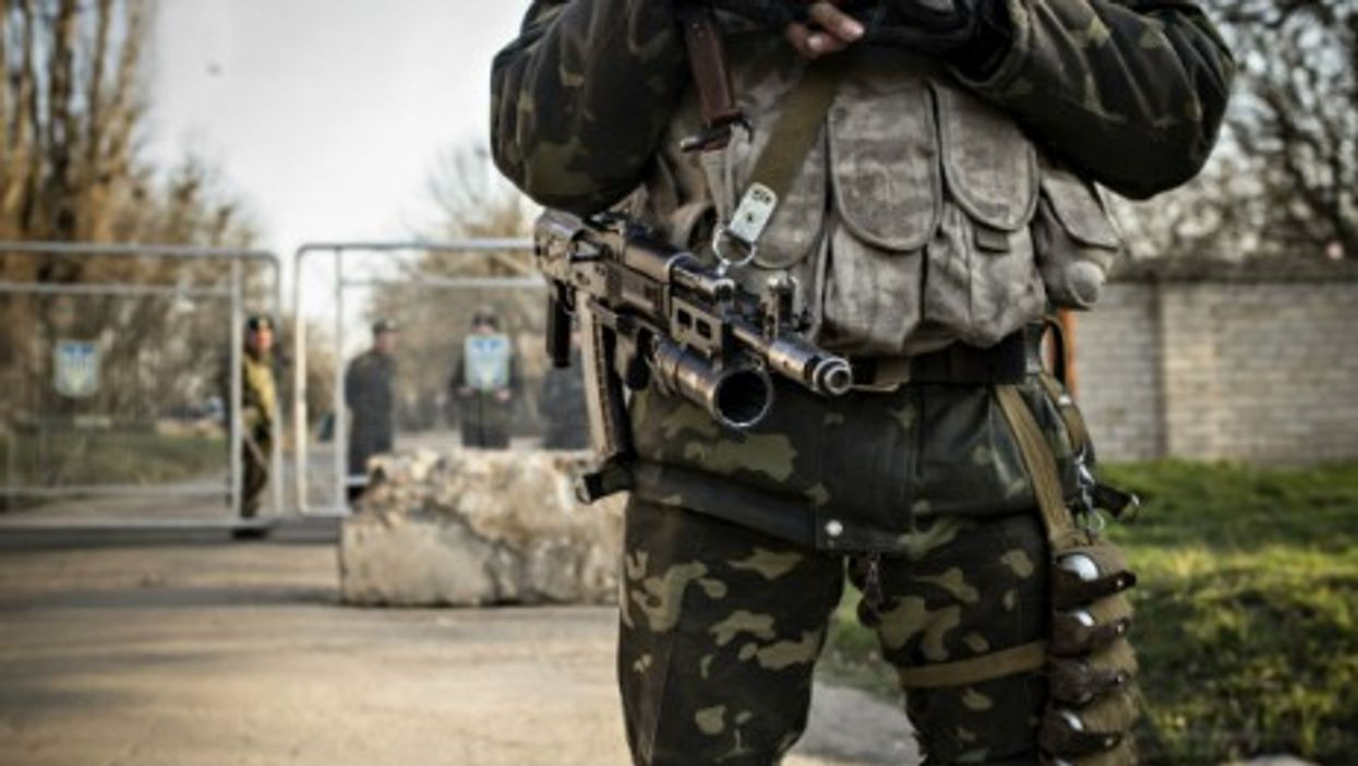 A Ukrainian soldier at the border of Crimea