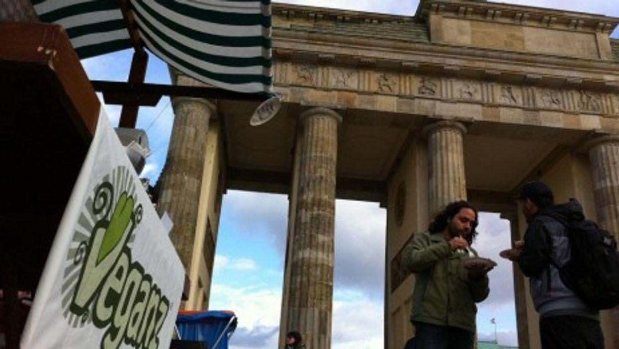 A Veganz publicity stand by the Brandenburg Gate