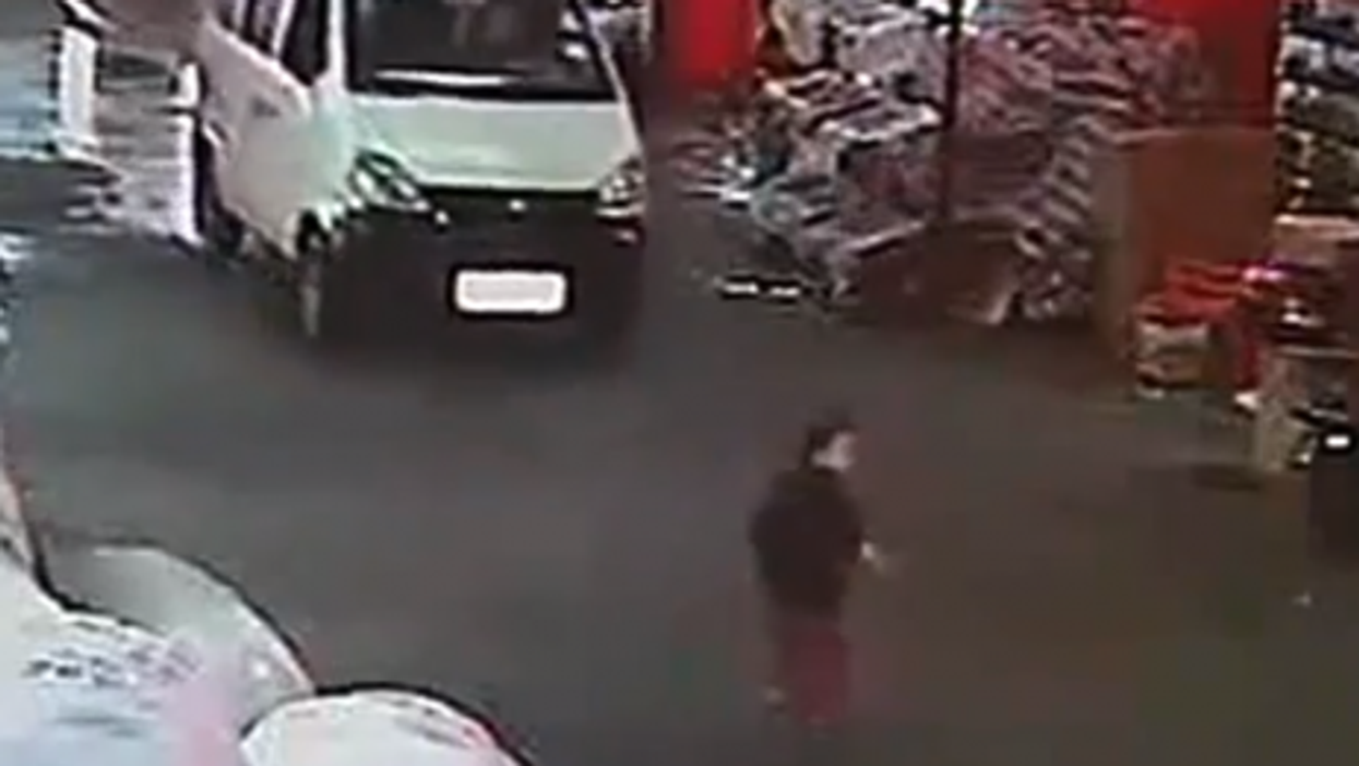 A video image just before the van struck the toddler