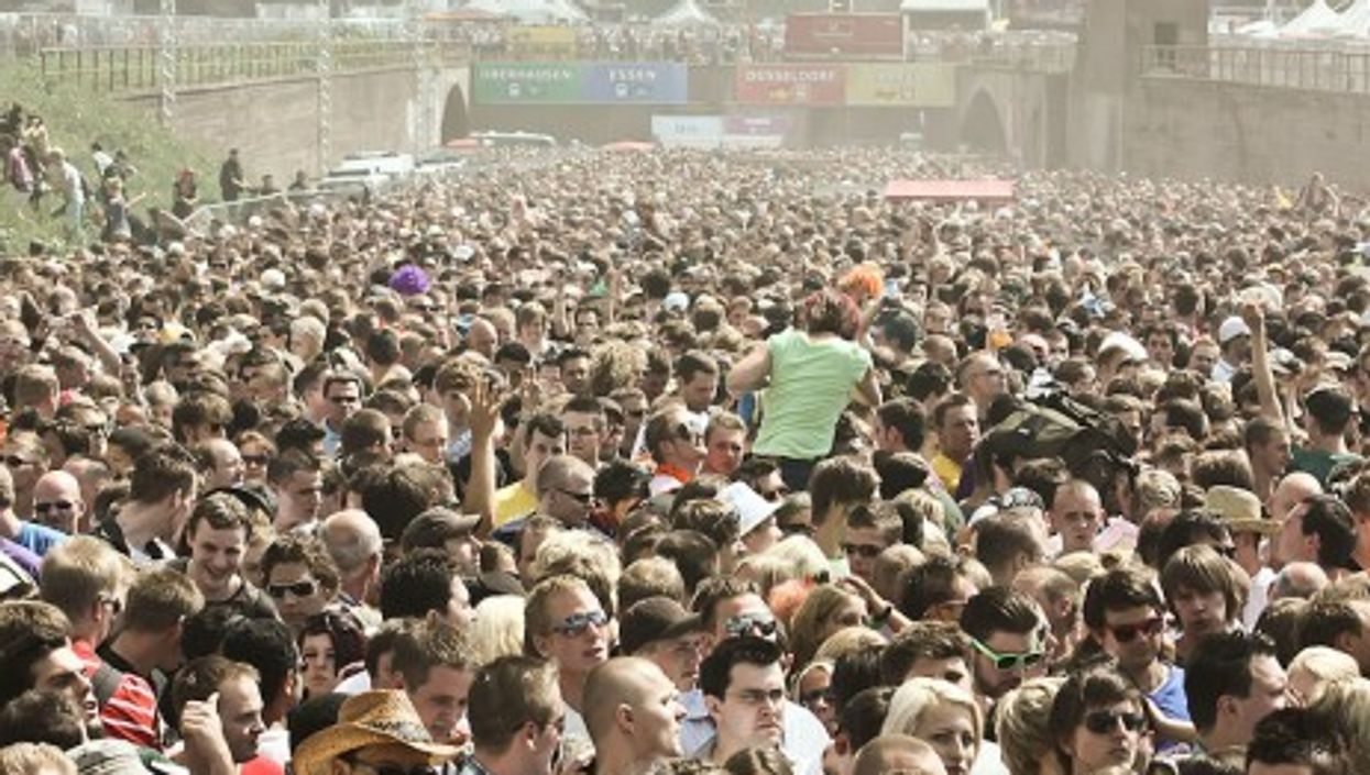 A view of the dangerously packed crowd at the 2010 Love Parade