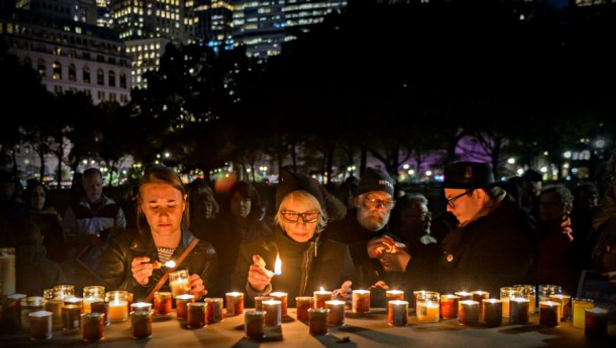 A vigil in New York after the synagogue shooting in Pittsburgh last Saturday