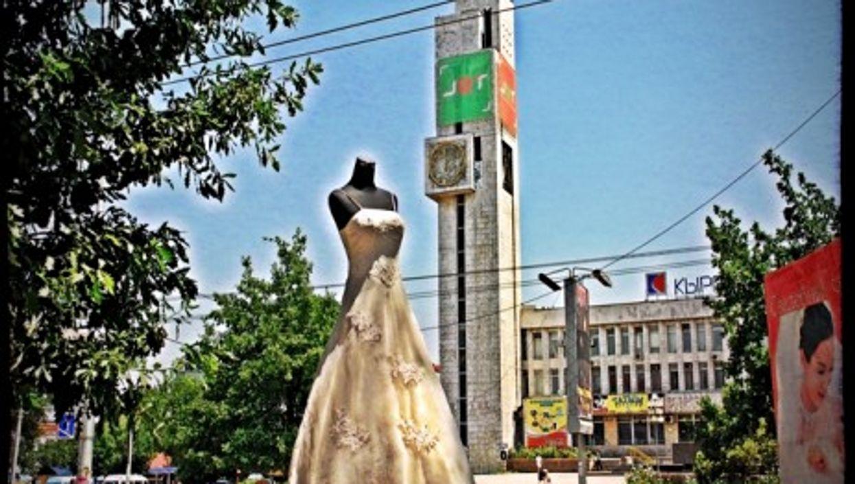 A wedding dress in Kyrgyzstan's capital Bishkek