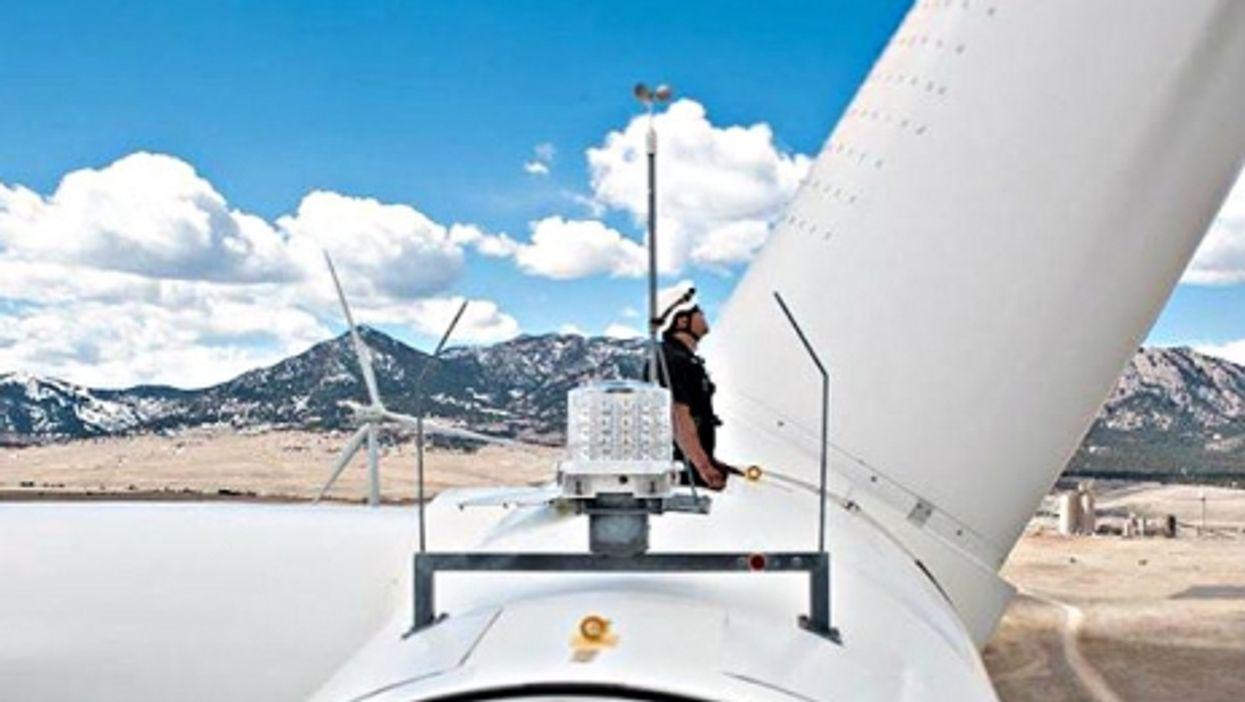 A wind turbine more than 260 feet above the ground at NREL