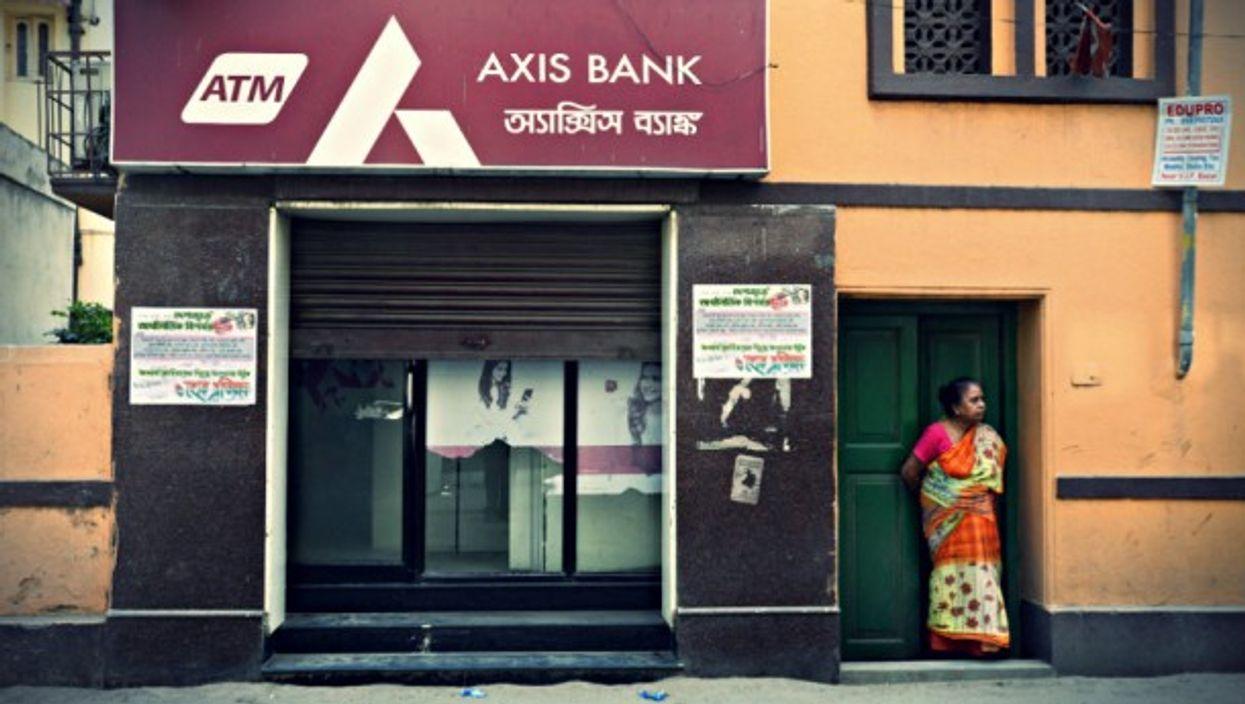 A woman and a bank in Kolkata