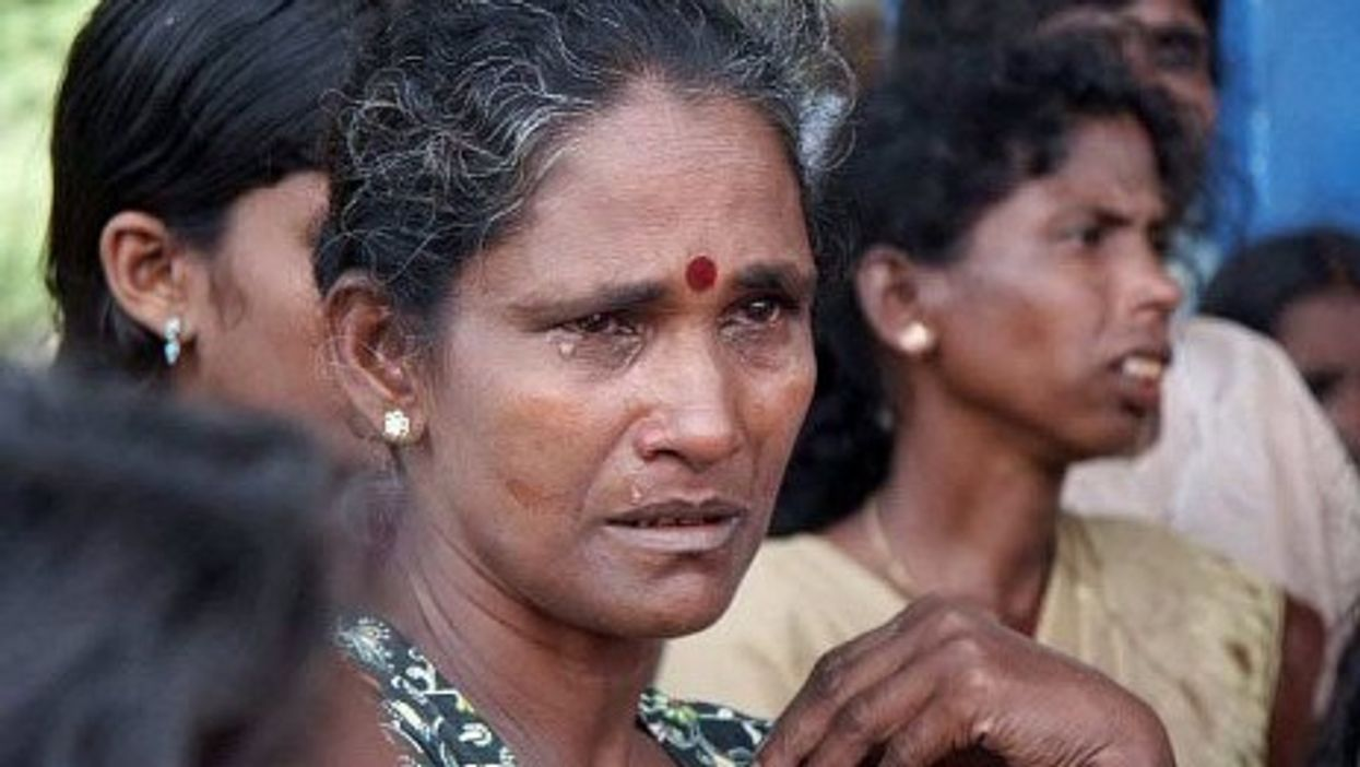 A woman displaced in Sri Lanka's civil war in 2008. (trokilinochchi)