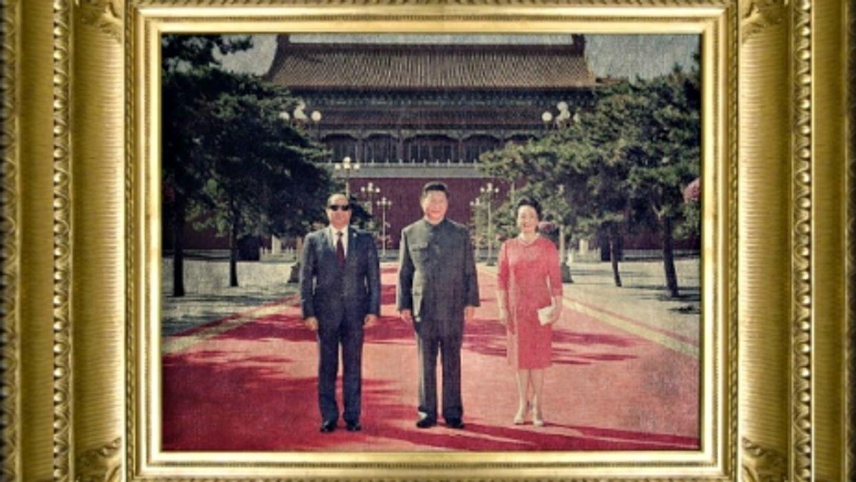 Abdel Fattah al-Sisi, Xi Jinping and his wife Peng Liyuan in Beijing on Sept. 3