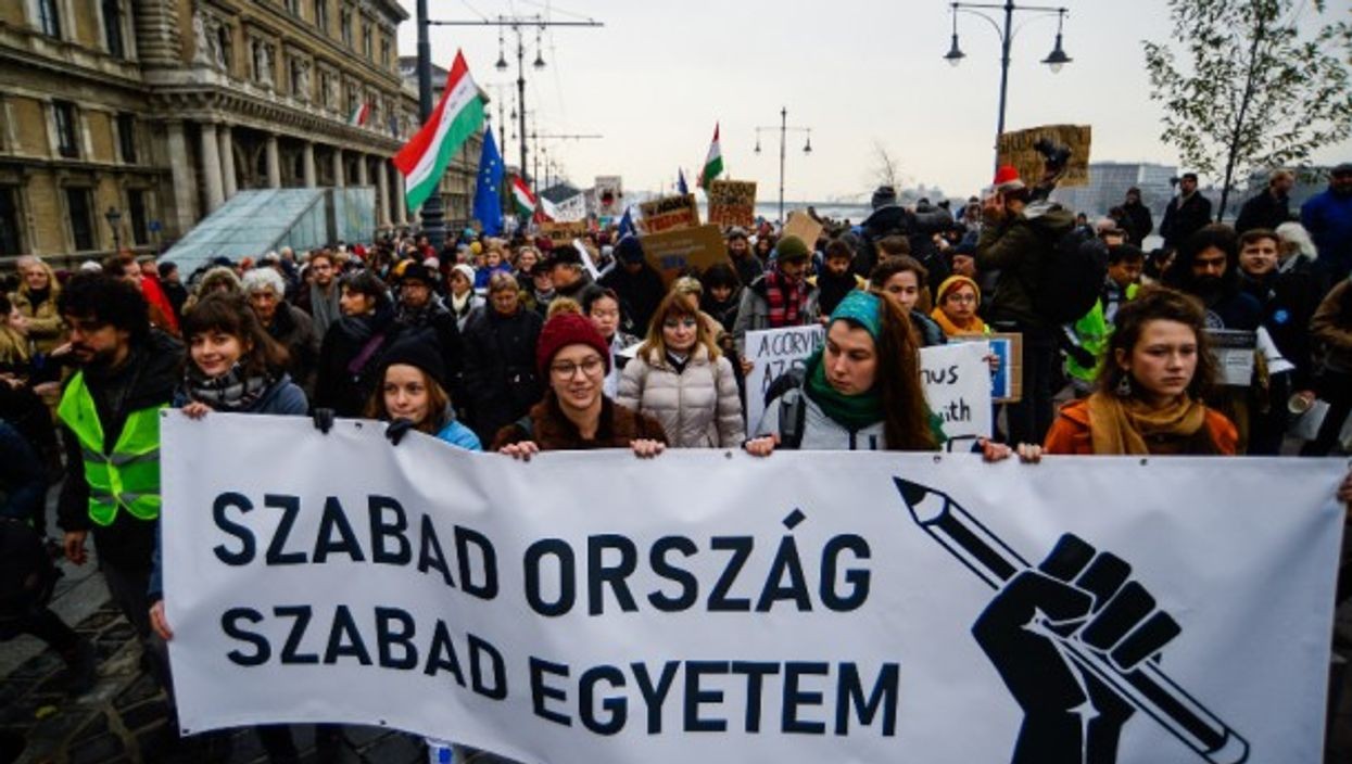 Academic freedom protest in Budapest in 2018