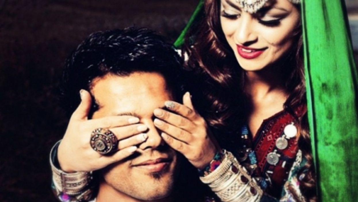Afghan couple during the Shawe Kheena (Henna Night)