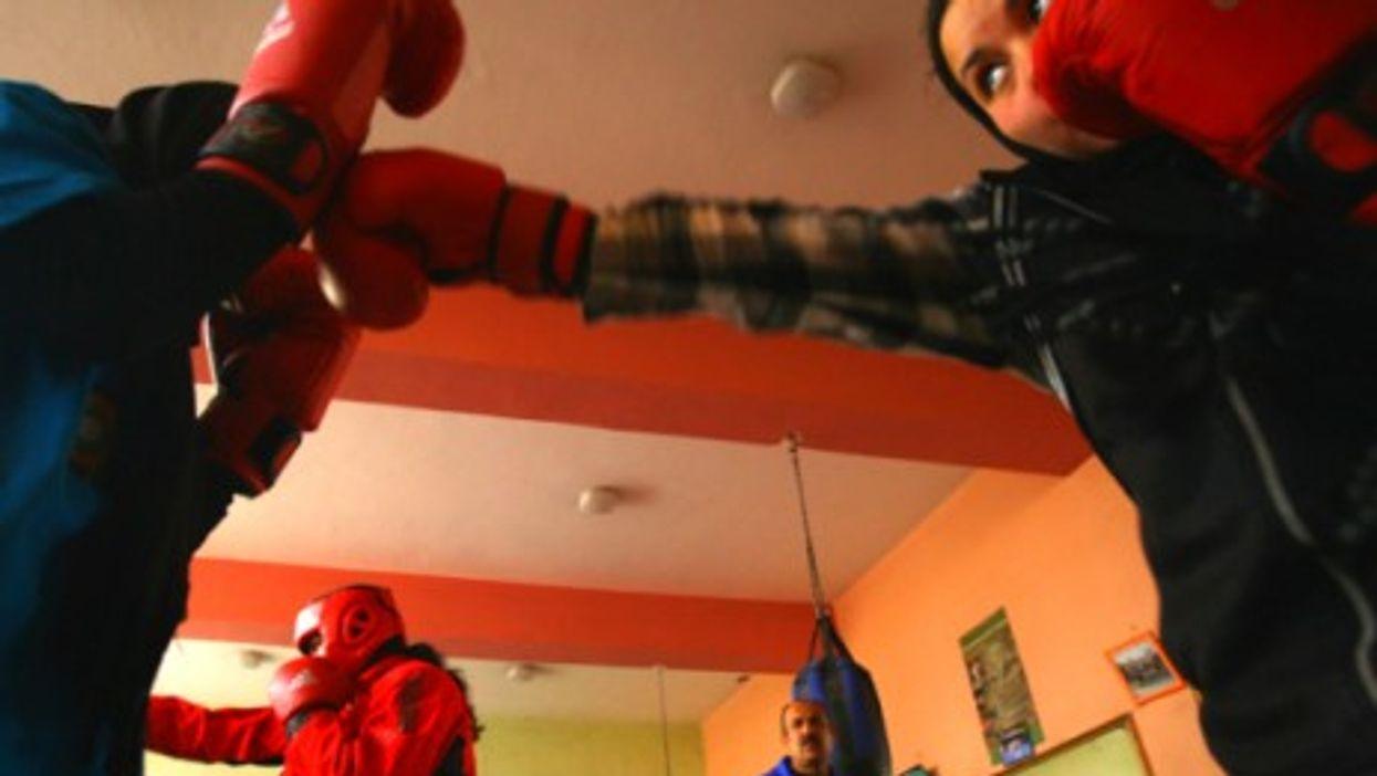 Afghan women in a boxing club in Kabul