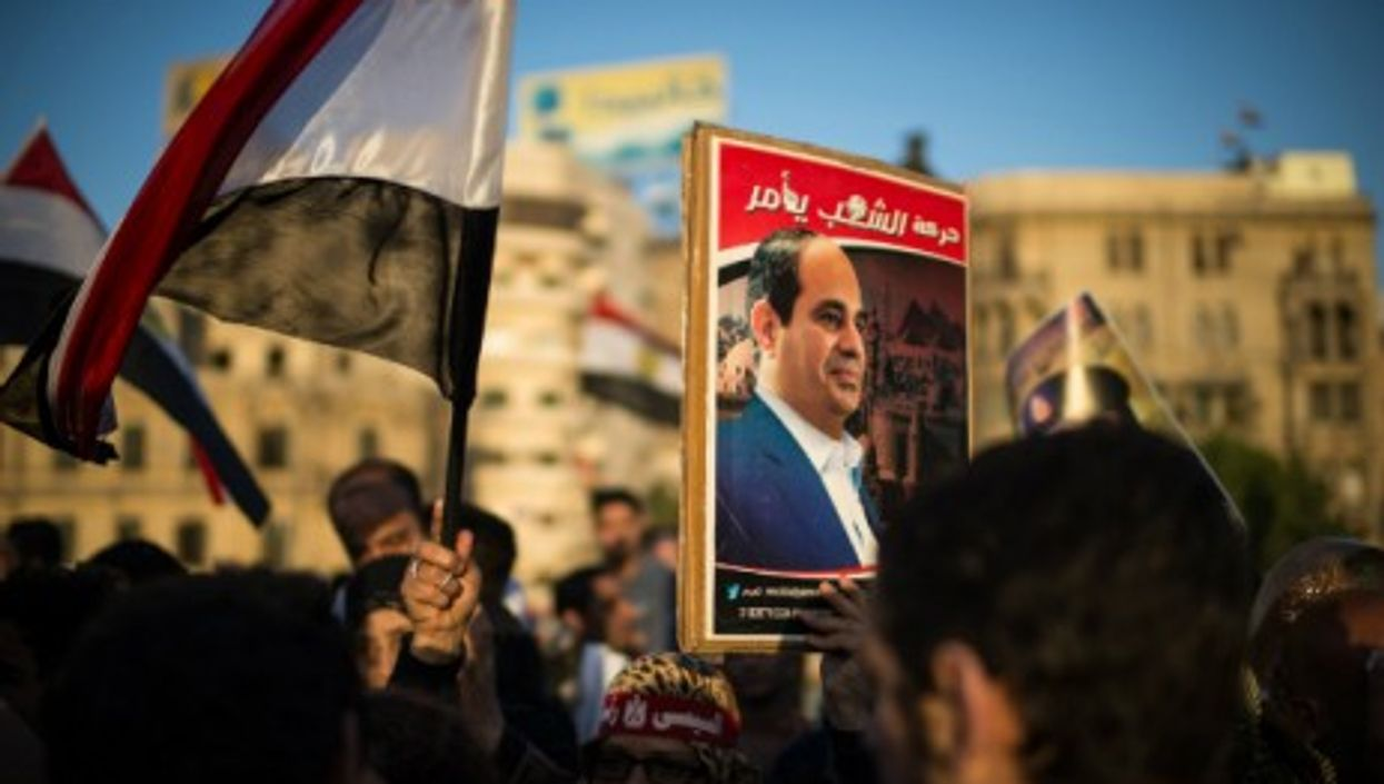 Al-Sisi supporters demonstrate near Tahrir Square on March 28, 2014