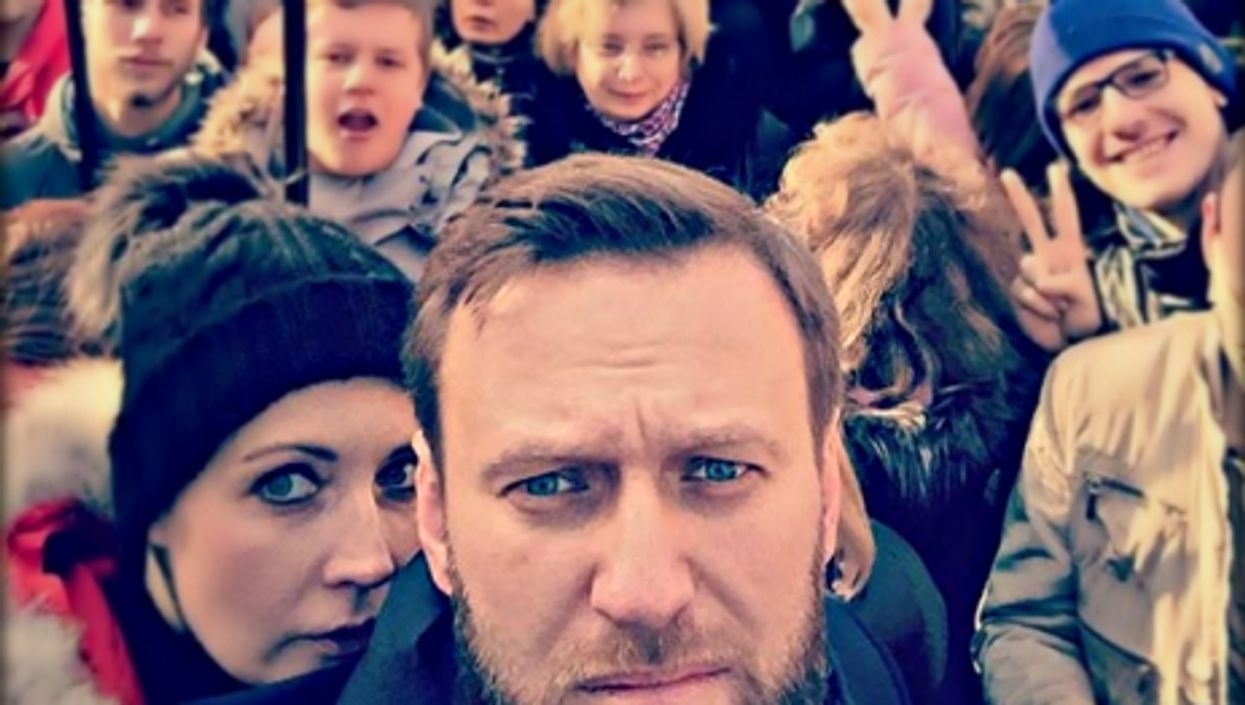 Alexei Navalny participating in a February march in memory of Boris Nemtsov in Moscow