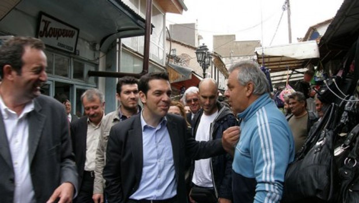 Alexis Tsipras (center), head of the Coalition of the Radical Left SYRIZA parliamentary group (PIAZZA del POPOLO)