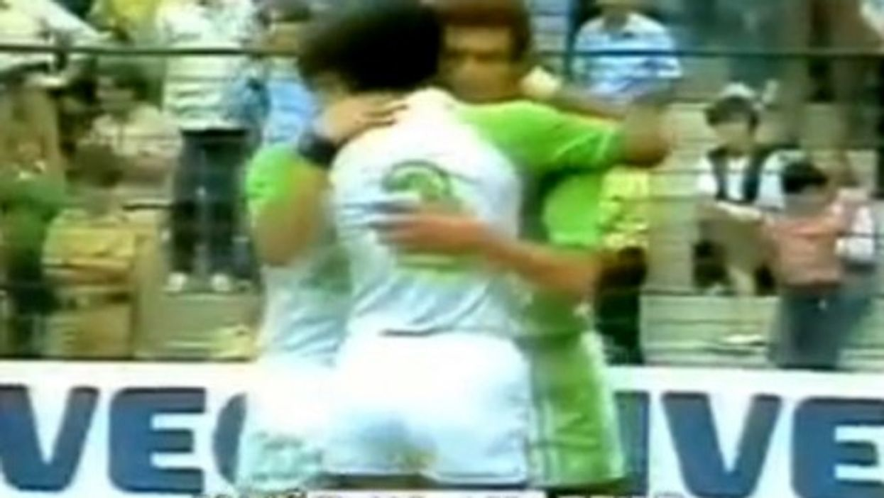 Algerian players celebrating a goal against Chile in the 1982 World Cup