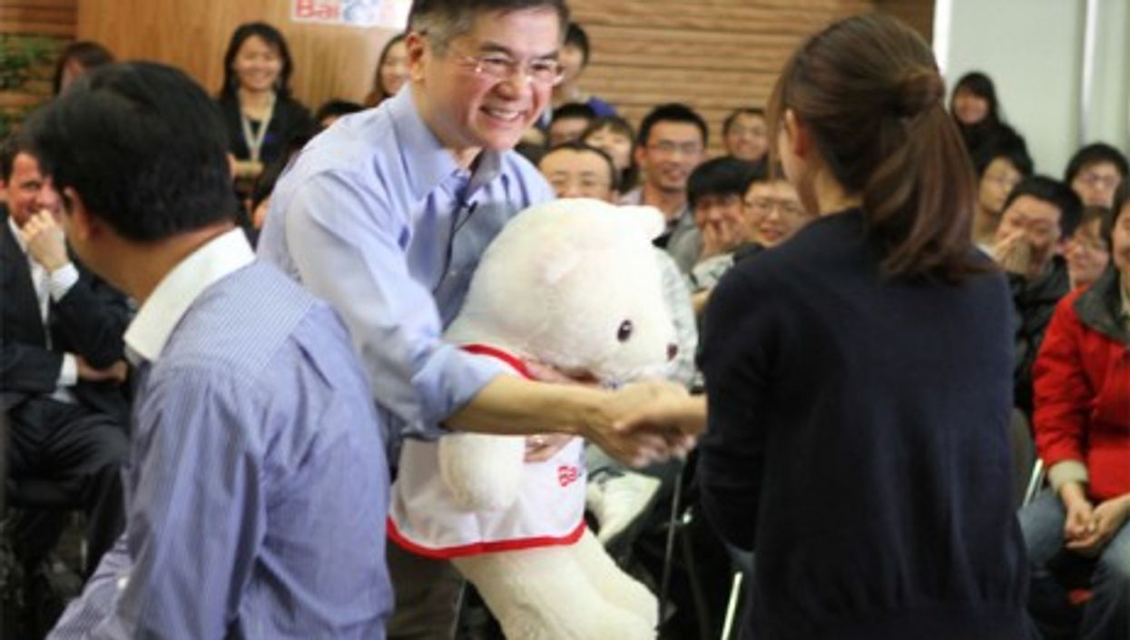 American Ambassador Gary Locke meeting employees of a Chinese web services company in Beijing (PAS China)