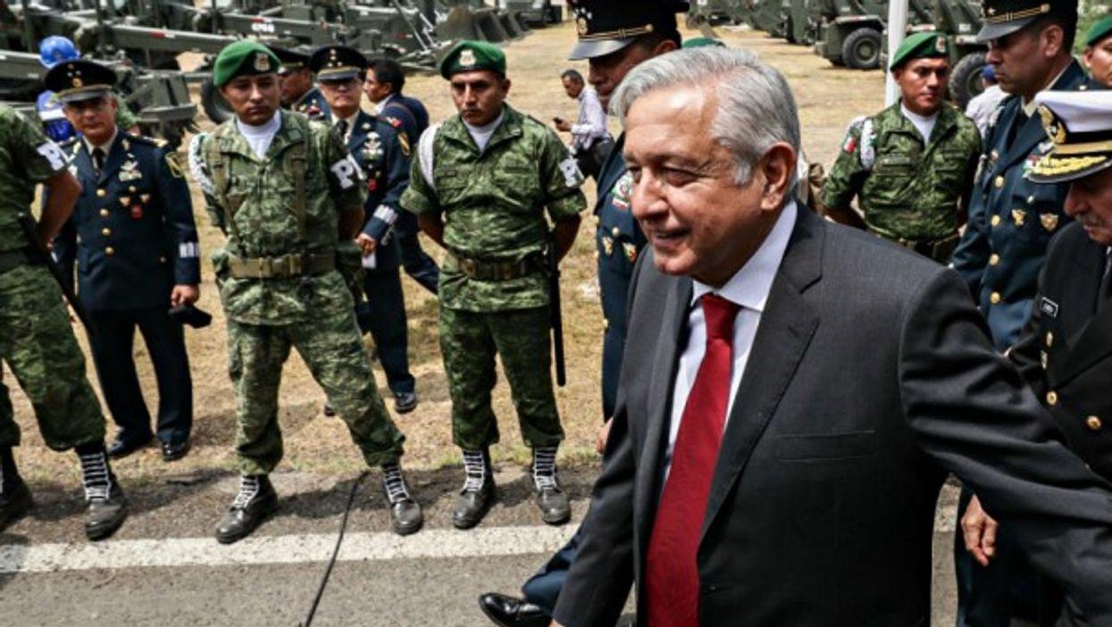 AMLO last month at Santa Lucía Air Force Base