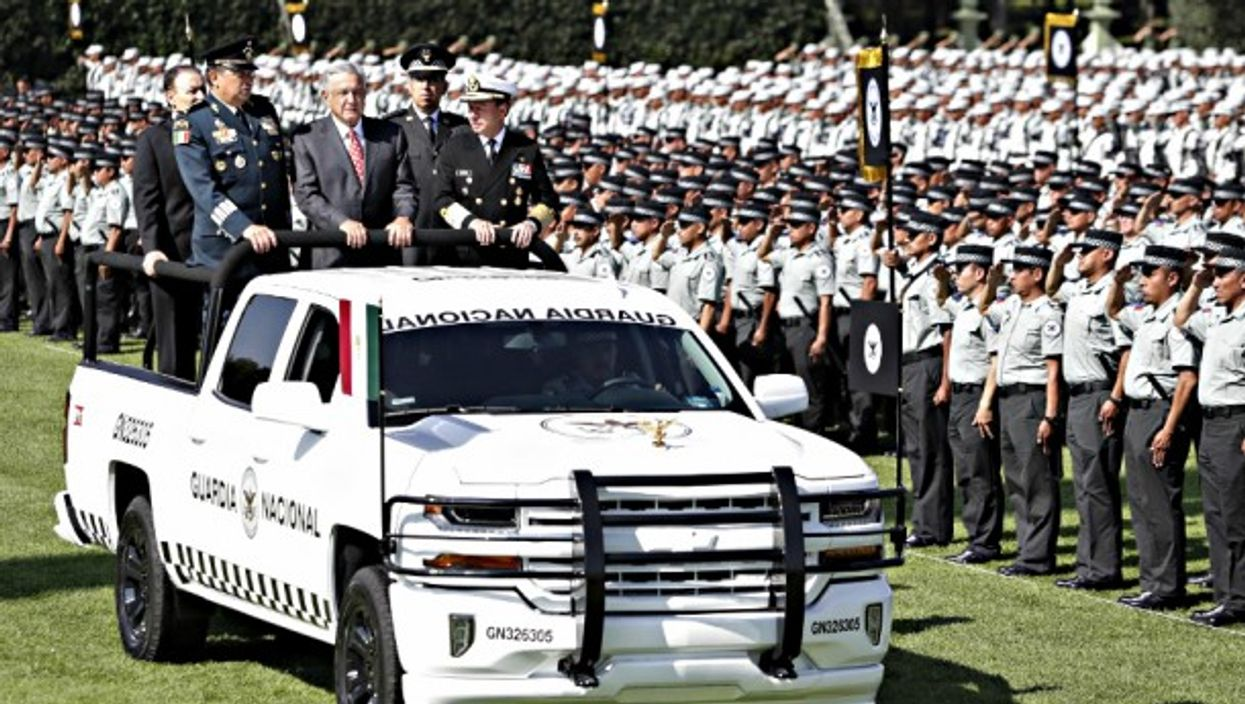 AMLO last month at the deployment of 70,000 national guard troops.
