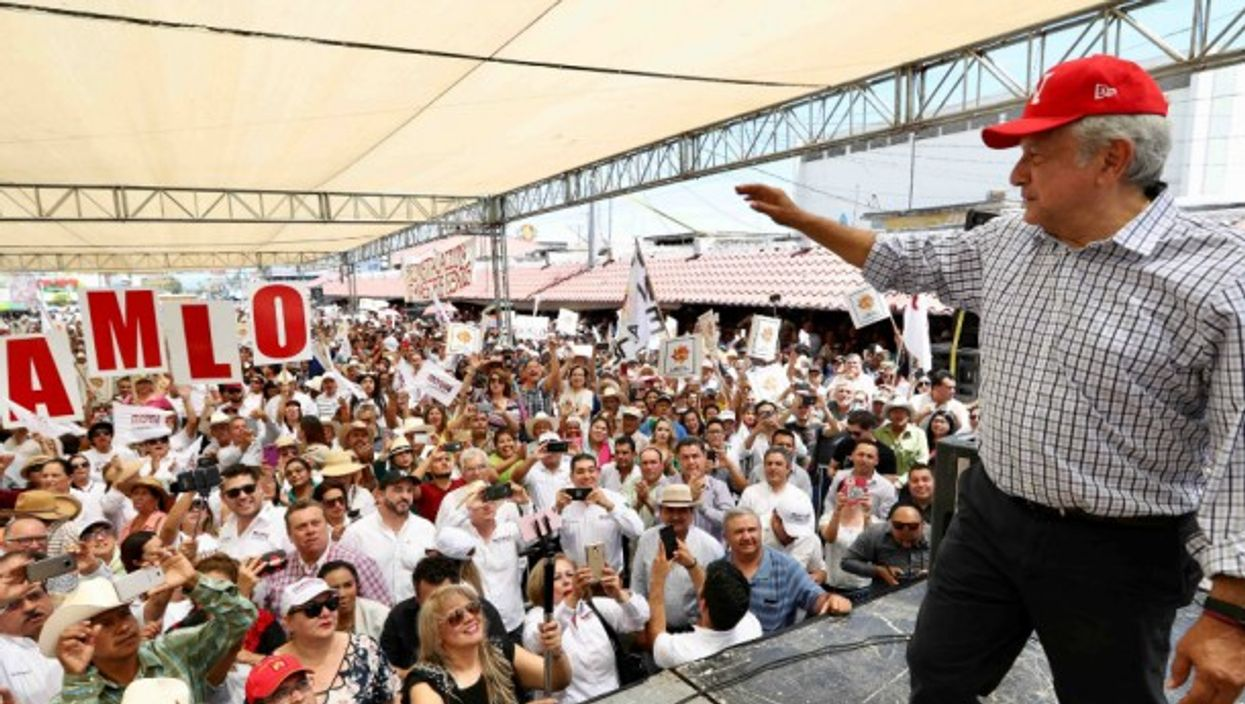 AMLO, the presidential candidate at one of his rallies across Mexico.