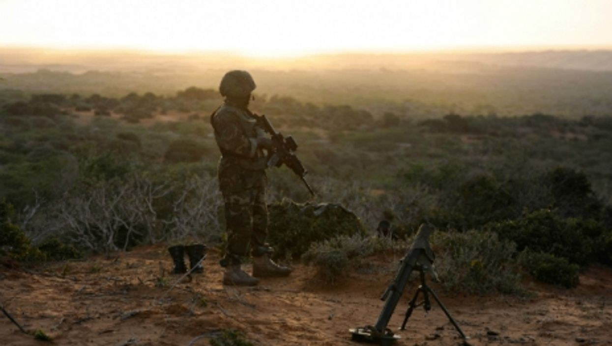 An AMISOM soldier stands watch in southern Somalia