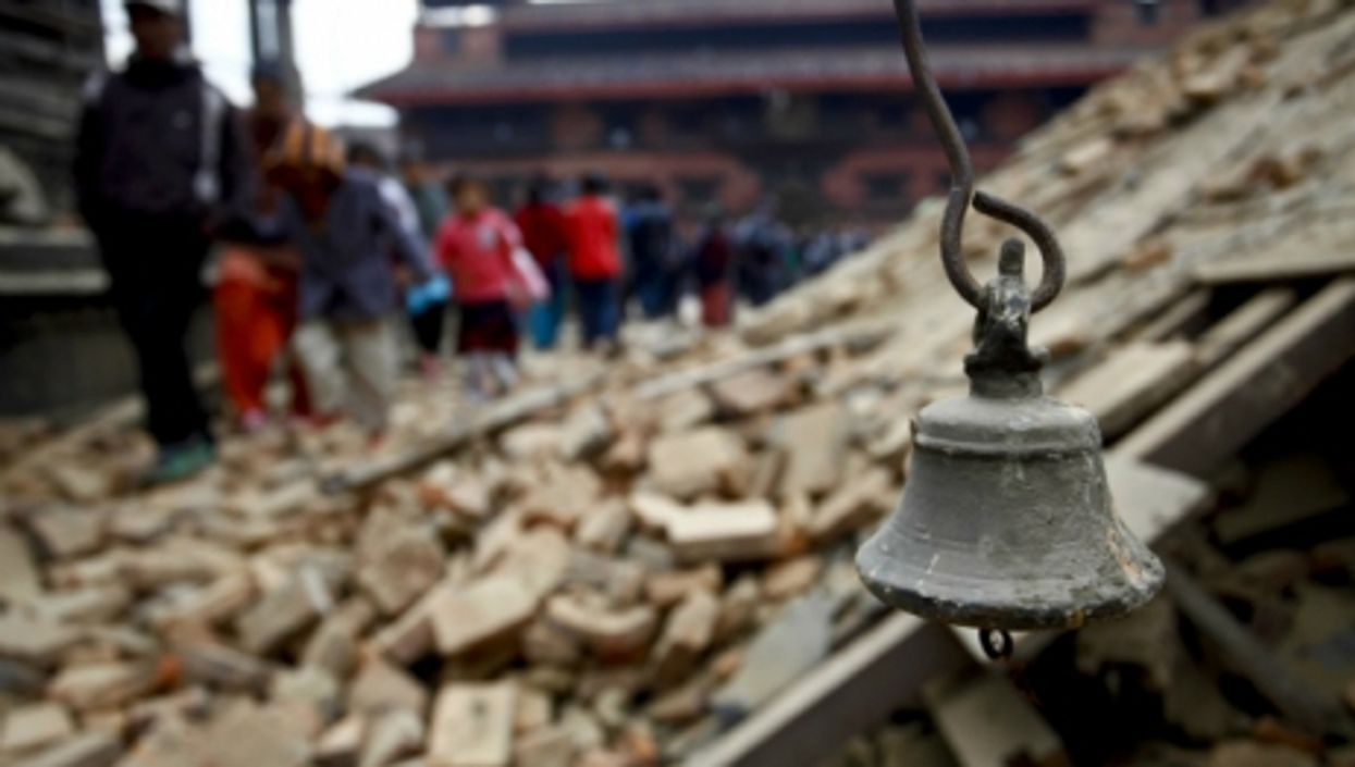 An ancient bell in Durbar Square, Patan, after the deadly earthquake that struck Nepal on April 25, 2015.