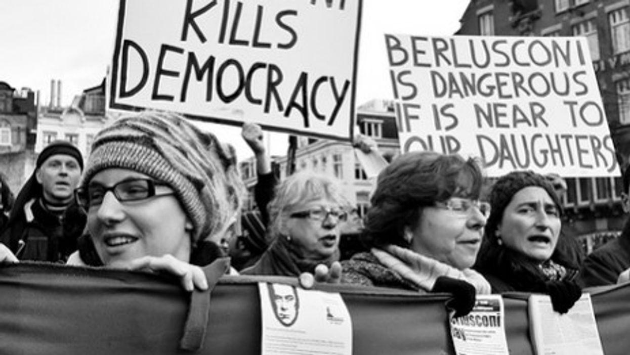 An anti-Berlusconi rally in Amsterdam in 2009 (Jos van Zetten)